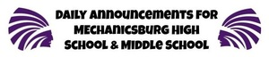 Daily Announcements for McBurg High School & Middle School